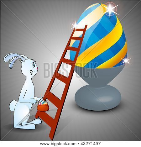 Cute Easter Bunny holding Easter Eggs basket and glossy big Easter Egg.