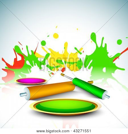 Indian colorful festival Holi celebration background with colors splash and color gun (pichkari). EPS 10.