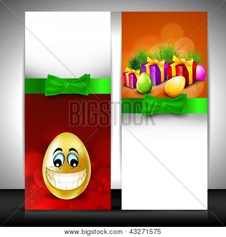 Easter banner set with smiling egg, gift boxes and green ribbon.