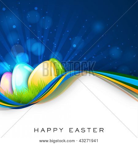 Glossy eggs on shiny wave background.