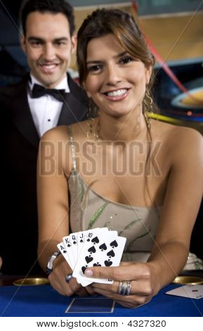 Casino Woman With A Royal Flush