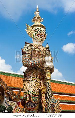 Thai Style Statue Of Guard At Grand Royal Palace, Bangkok