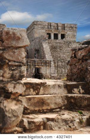Mayan Ruins Main Temple In Tulum