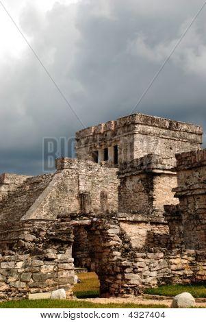 Mayan Ruins Main Temple In Tulum Dramatic Angle