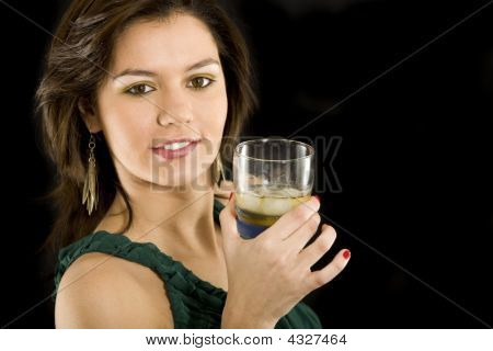 Elegant Girl With A Drink