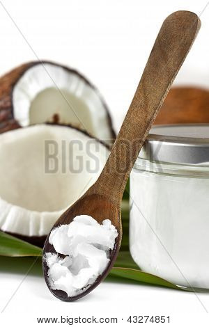 Close-up Of Coconut Oil On The Wooden Spoon