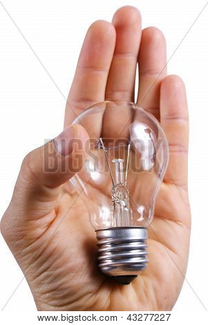 Lamp Is In A Human Hand