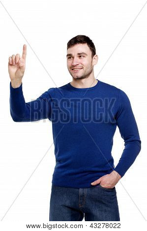 Smiling Man Pointing, Isolated On A White Background