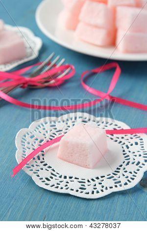 Homemade Pink Marshmallows Selective Focus