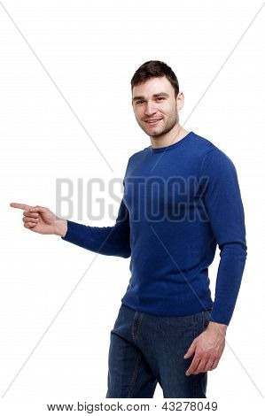 Handsome Man Pointing Left Isolated On White