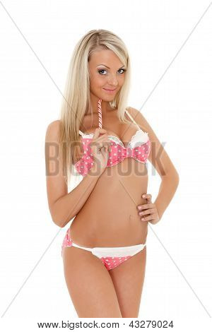 Blonde Woman With Lollipop.