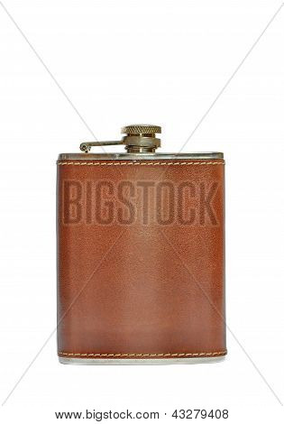 Brown Hip Flask Isolated On White