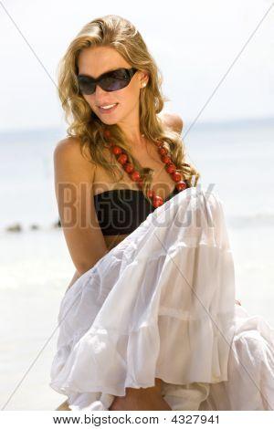 Fashion Girl At The Beach
