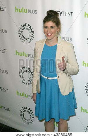 "BEVERLY HILLS - MARCH 13: Mayim Bialik arrives at the 2013 Paleyfest ""The Big Bang Theory"""" panel on March 13, 2013 at the Saban Theater in Beverly Hills, CA."