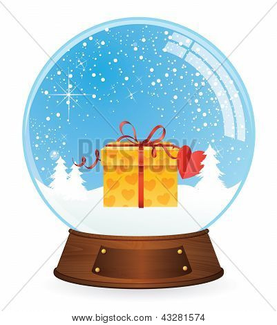 Gift box in Snow globe