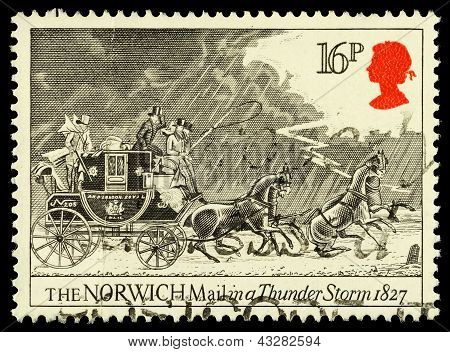 Britain Mail Coach Postage Stamp