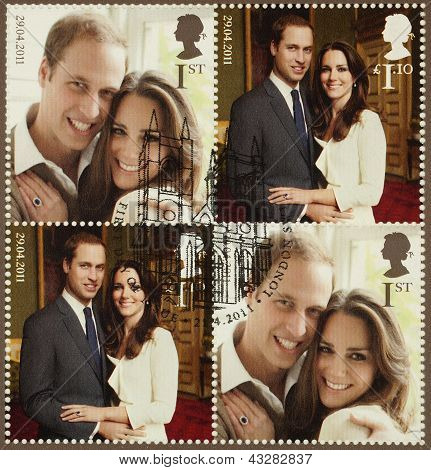 Kate Middleton And Prince William Royal Wedding Stamps