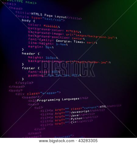 Html Programming Code On Screen
