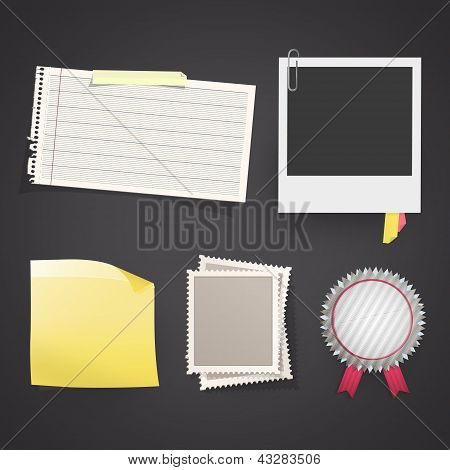 Set With Photo, Labels, Stamps, Etc. Vector Design.