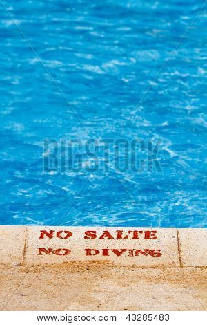 No Diving Sign