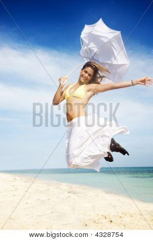 Beach Girl Jumping