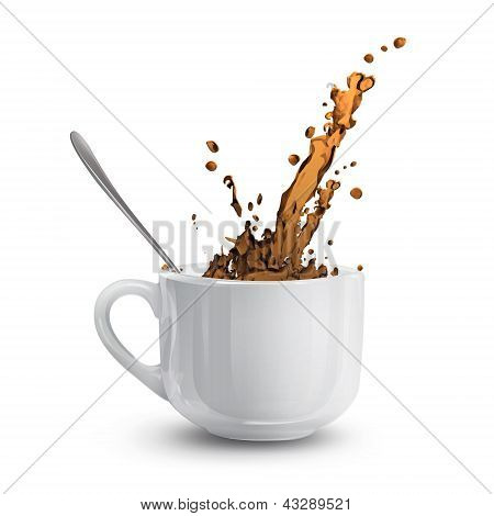 White Cup With Coffee. Vector Design.