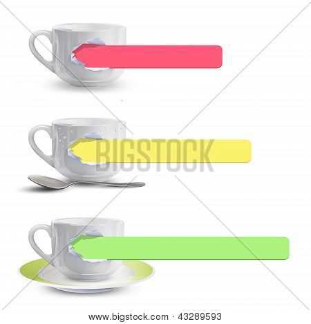 Set Of White Cups. Vector Design.