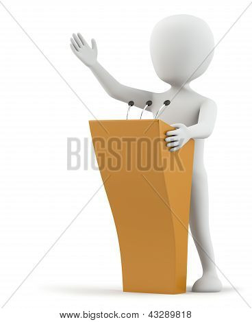 3D Small Person Speaks At The Podium.
