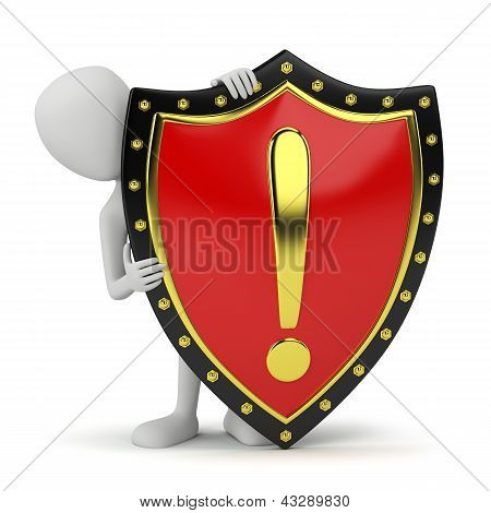 3D Small Person And Shield.