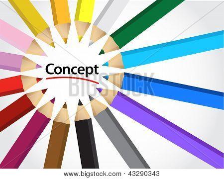 Concepto conjunto de lápices de colores