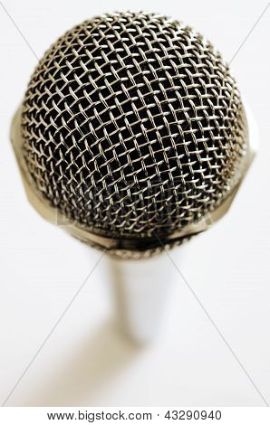 Vintage Microphone Over White