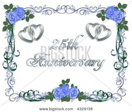 25Th Wedding Anniversary Invitation Border Stock photo