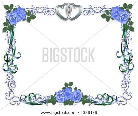 Wedding Invitation Border Blue Roses