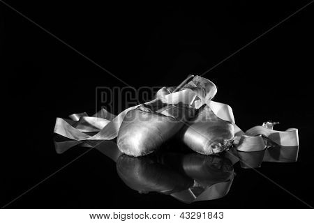 Closeup Pair of Ballet Pointe Shoes