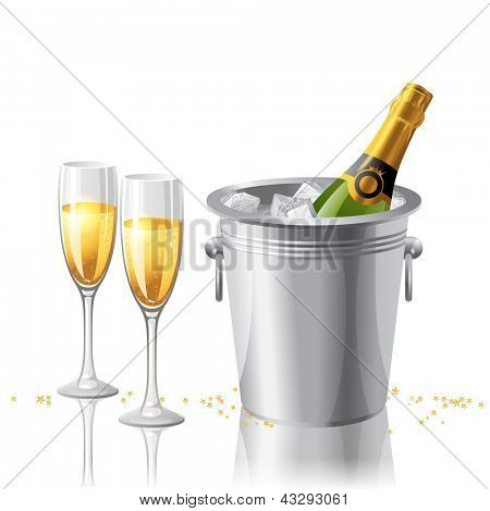 2 full glasses and a bottle of champagne in a bucket with ice. EPS 10.
