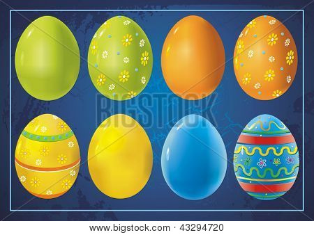 Beautiful Easter Background with colorful Easter eggs. Vintage greeting card