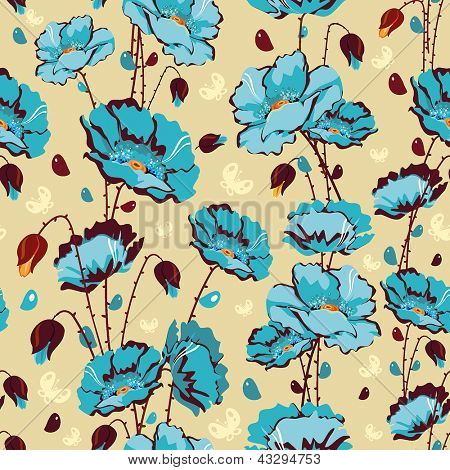 Abstract Elegance Seamless floral pattern with vintage flowers and leafs. Beautiful vector illustration texture with poppy