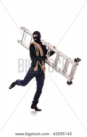 Ladrón usando pasamontañas aislado en blanco