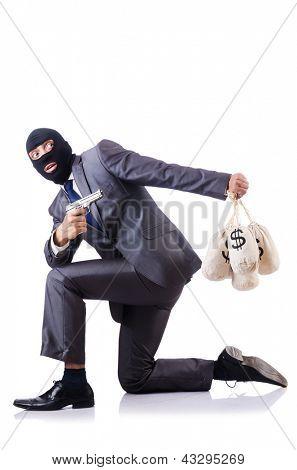 Penal do empresário com sacos de dinheiro