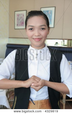 Waitress Or Greeter At Work