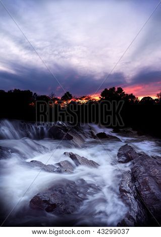 Waterfall And Rapids At Sunset