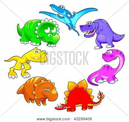 Dinosaurs rainbow. Funny cartoon and vector isolated characters