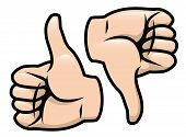 stock photo of dislike  - A cartoon vector drawing of a thumbs up and a thumbs down - JPG
