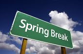 stock photo of easter_break  - Spring Break Road Sign with Dramatic Clouds and Sky - JPG