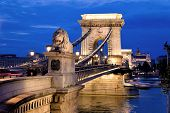 image of hungarian  - the chain bridge is one of the landmarks of budapest in hungary - JPG