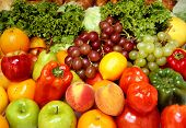 stock photo of fruits vegetables  - delicious fesh fruits and vegetables for a healthy and balanced diet - JPG