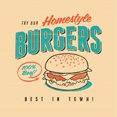 picture of beef-burger  - Vintage design for Graphic T - JPG