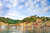 Portofino Luxury Village Landmark, Panorama View. Liguria, Italy poster