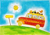 picture of caricatures  - School bus trip - JPG