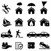 stock photo of fire insurance  - Insurance and disaster icon set in black - JPG
